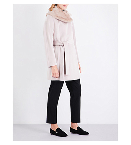 REISS Aeven faux-fur collar wool coat (Parchment