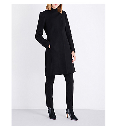 REISS Lanston single-breasted wool-blend coat (Black