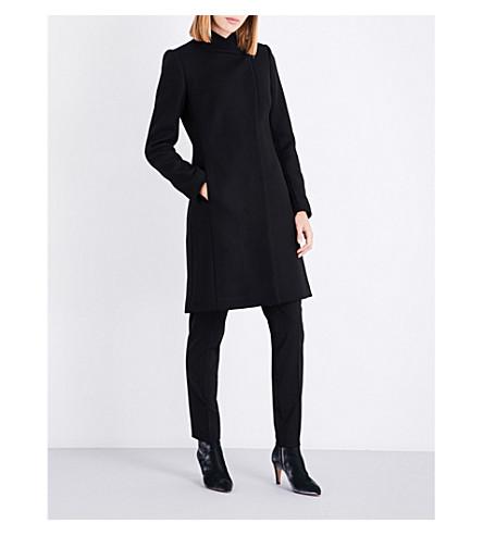 REISS Lanston single-breasted wool-blend coat (Black