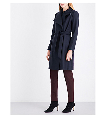 REISS Harri belted wool-blend coat (Midnight