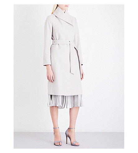 REISS Deena wrap-front wool-blend coat (Parchment