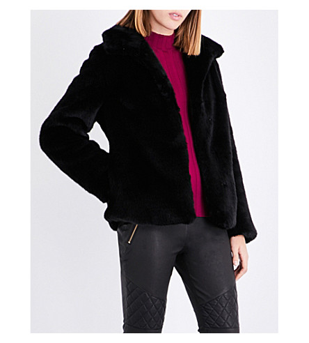 REISS Orsa faux-fur jacket (Black