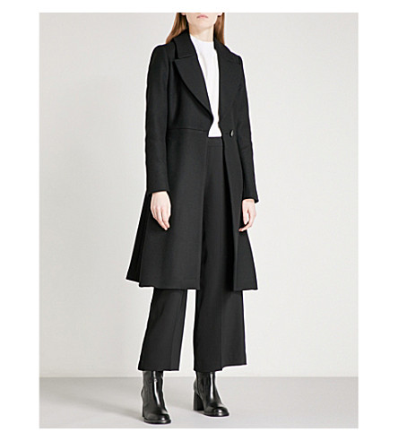 REISS Halle fit-and-flare wool-blend coat (Black