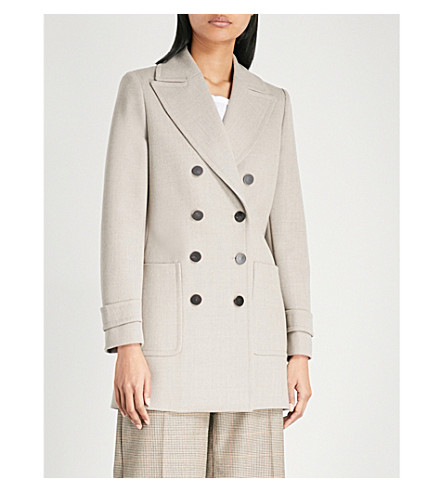 REISS Luella double-breasted wool coat (Light+grey