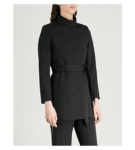REISS Luca high-neck wool-blend jacket (Black