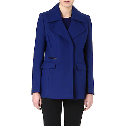 REISS Wool-blend biker coat (Cobalt