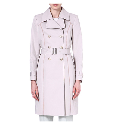 REISS Ladder-seam trench coat (Neutral