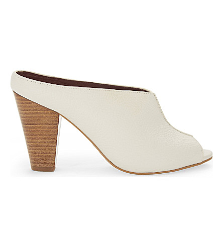 REISS Marcel peep-toe leather mules (Off+white