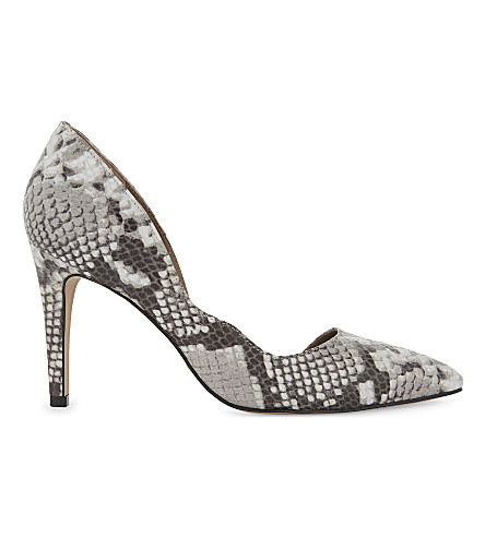 REISS Bardot curved snakeskin-embossed courts (Snake