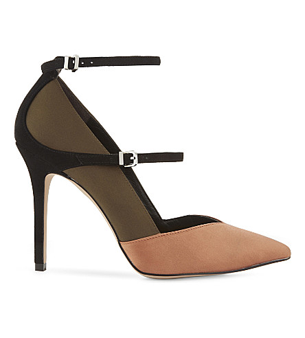REISS Athena satin ankle-strap courts (Khaki