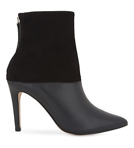 REISS Genoa leather panels stiletto boots (Black