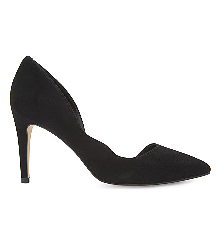 REISS Bardot suede heeled courts (Black