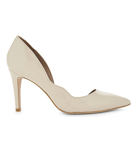 REISS Bardot patent leather courts (Nude