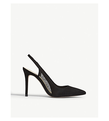 REISS Clara suede slingback sandals (Black
