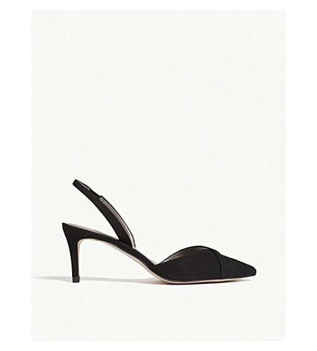REISS Ivy suede slingback courts (Black