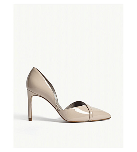 REISS Georgia patent leather heeled courts (Nude
