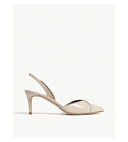 REISS Ivy patent leather slingback courts (Nude