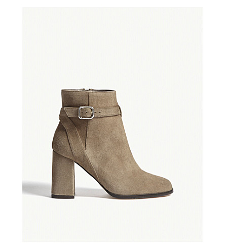 REISS Fulham suede heeled boots (Mink