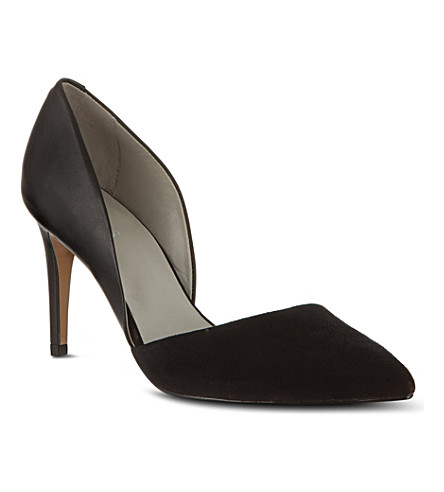 REISS Brina asymmetric court shoes (Black/white