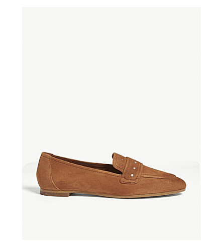 REISS Stella backless suede loafers