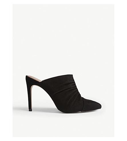 REISS Ameline ruched 皮革穆勒鞋 (黑色