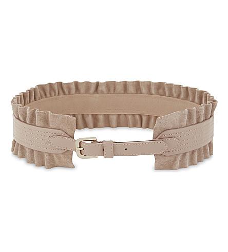 REISS Tilda wide ruffle leather belt (Blush