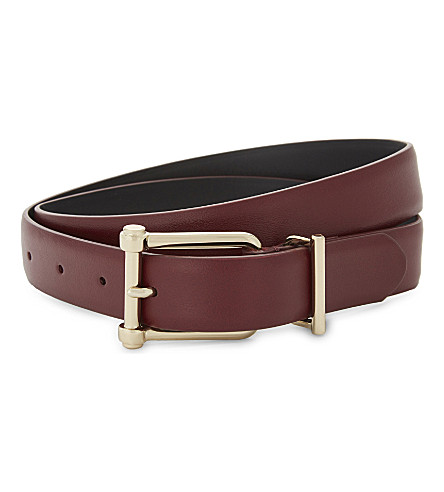 REISS Sari leather belt (Ox+blood