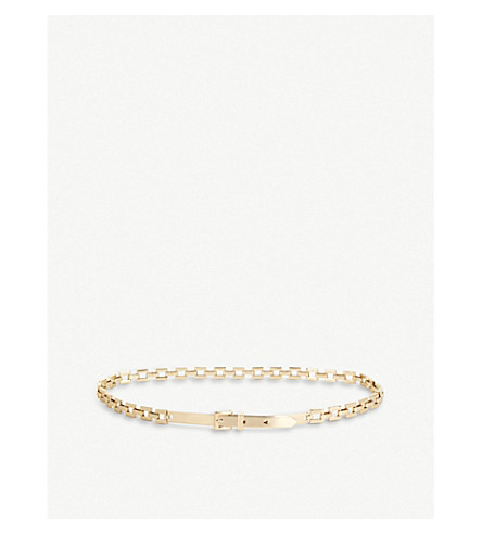 REISS Klee square gold-toned chain belt