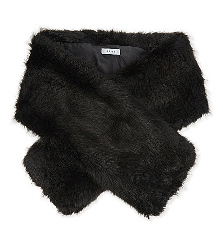 REISS Gypsy faux-fur scarf (Slate