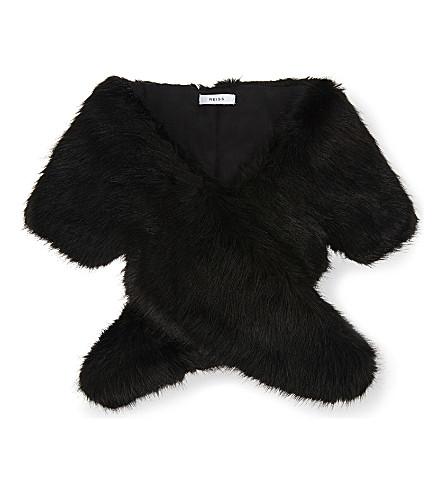 REISS Penny oversized faux-fur collar (Black