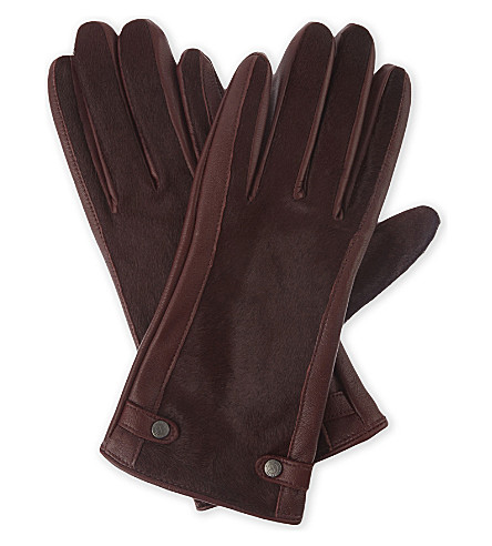 REISS Jessica leather gloves (Ox+blood