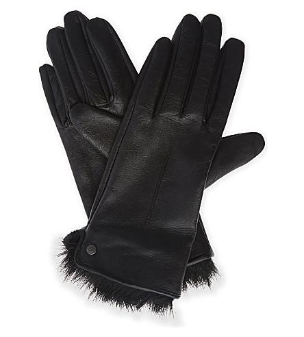 REISS Dalton faux-fur trim and leather gloves (Black