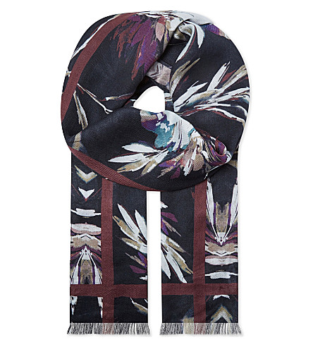 REISS Murphy floral modal and silk scarf (Multi