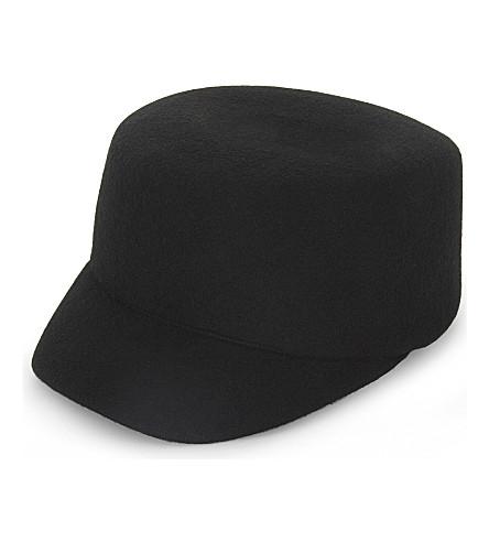 REISS Leonie peaked wool-felt cap (Black