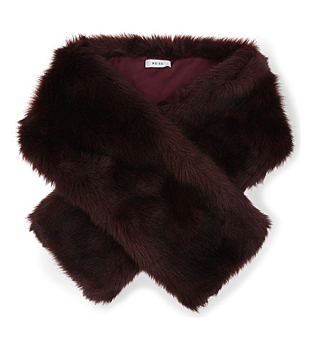 REISS Gypsy faux-fur scarf (Ox+blood