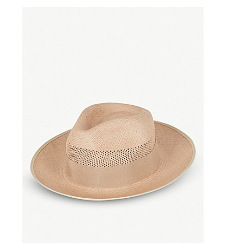 REISS Trevill woven trilby hat (Soft+pink