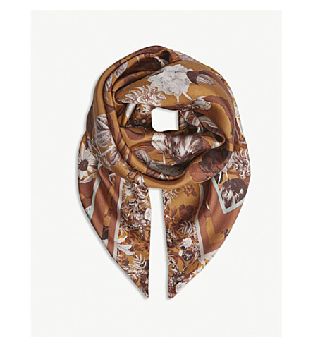 REISS Jazz floral print silk scarf (Multi
