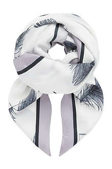 REISS Feather print silk scarf