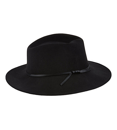 REISS Wool trilby hat (Black/white