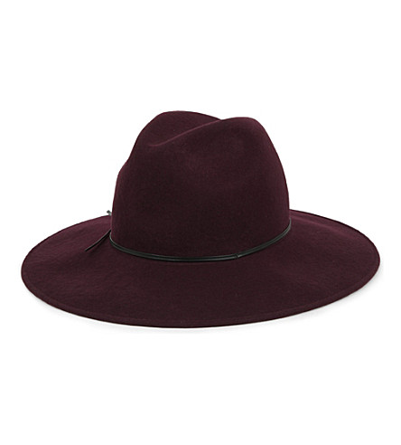 REISS Mimi wide brim trilby hat (Burgundy