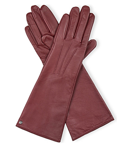 REISS Starling long leather gloves (Bordeaux