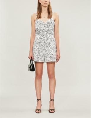 Brinley dot-print cotton and linen-blend playsuit