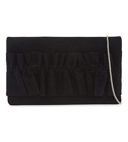 REISS Maxima suede clutch (Black