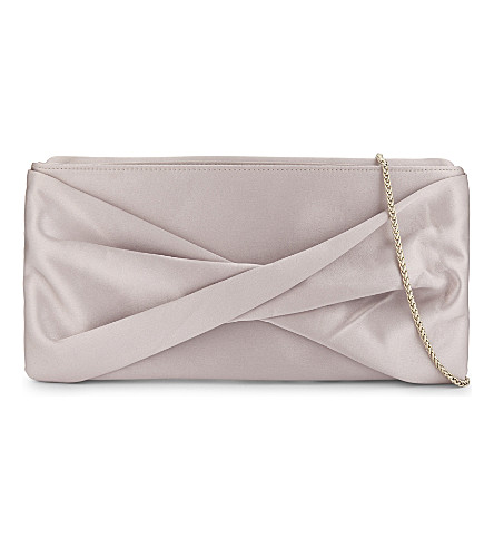 REISS Satin clutch bag (Blush