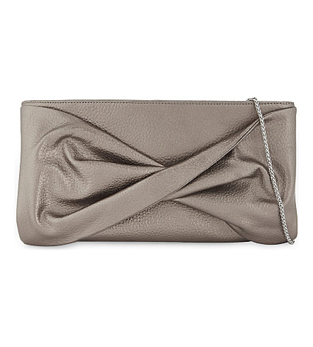 REISS Beau leather clutch (Gold
