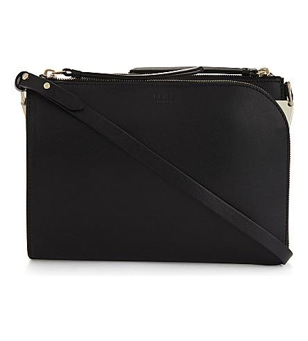 REISS Arnott leather cross-body bag (Black