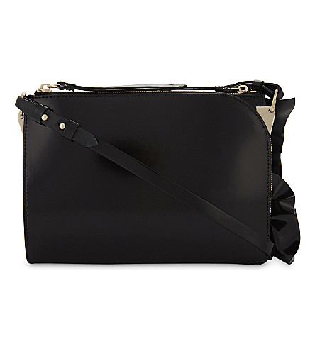 REISS Arnott ruffle leather cross-body bag (Black