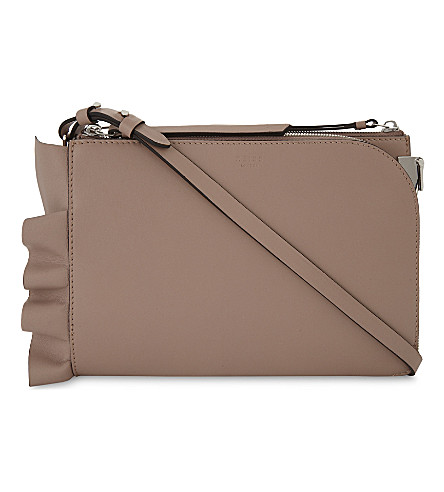 REISS Arnott ruffle leather cross-body bag (Nude