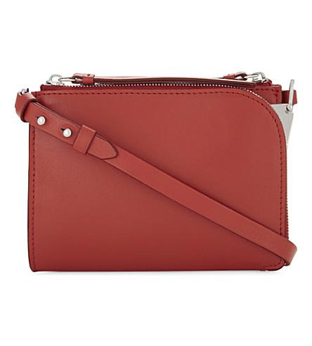 REISS Arnott mini leather cross-body bag (Geranium