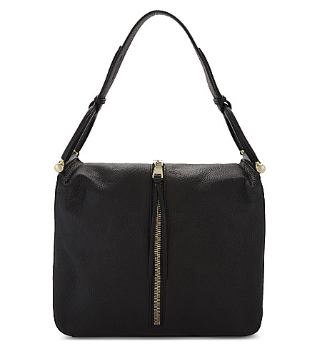 REISS Broadwick grained leather shoulder bag (Black